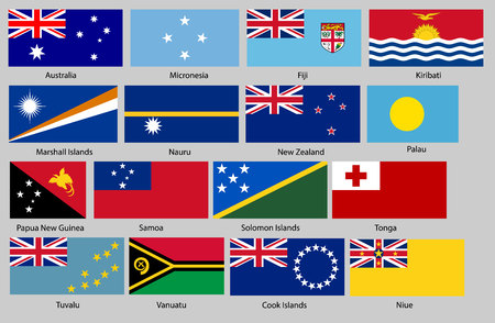 Vector illustration of different countries flags set. All flags Oceania