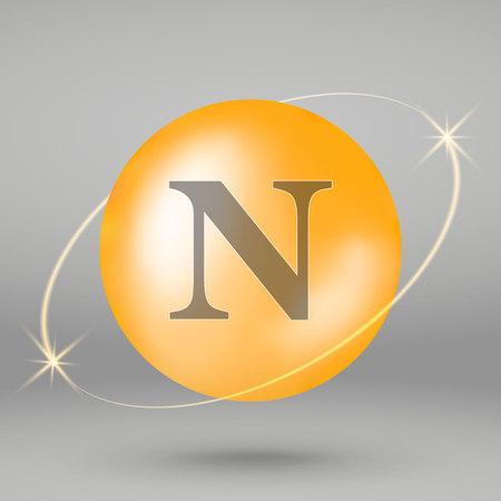 Vitamin N gold icon. drop pill capsule. Vitamin complex design