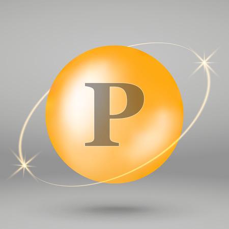 Vitamin P gold icon. drop pill capsule. Vitamin complex design