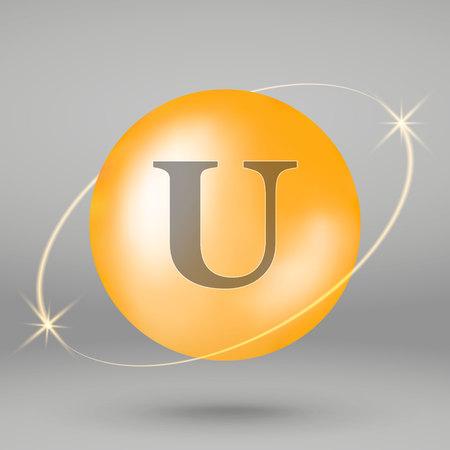 Vitamin U gold icon. drop pill capsule. Vitamin complex design 写真素材 - 110856340