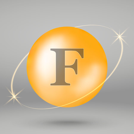 Vitamin F gold icon. drop pill capsule. Vitamin complex design