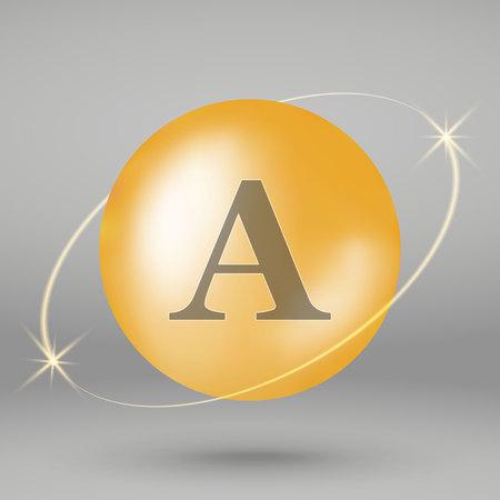 Vitamin A gold icon. drop pill capsule. Vitamin complex design 写真素材 - 110856344