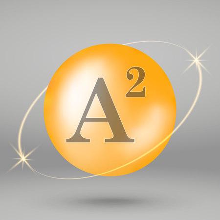 Vitamin A2 gold icon. drop pill capsule. Vitamin complex design 写真素材 - 110856345