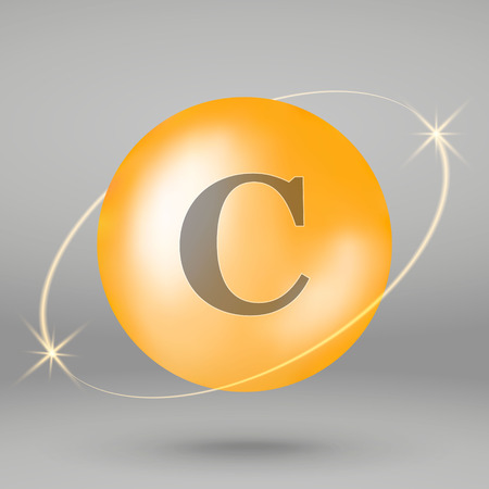 Vitamin C gold icon. drop pill capsule. Vitamin complex design