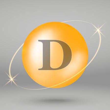 Vitamin D gold icon. drop pill capsule. Vitamin complex design  イラスト・ベクター素材