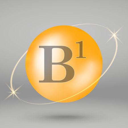 Vitamin B1 gold icon. drop pill capsule. Vitamin complex design