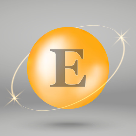 Vitamin E gold icon. drop pill capsule. Vitamin complex design