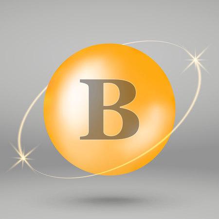 Vitamin B gold icon. drop pill capsule. Vitamin complex design