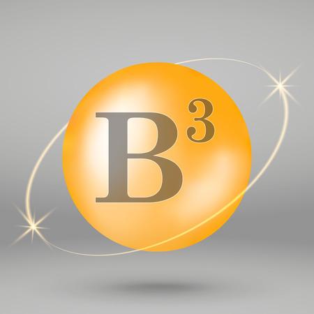 Icona dell'oro di vitamina B3. capsula della pillola di goccia. Design complesso vitaminico Vettoriali