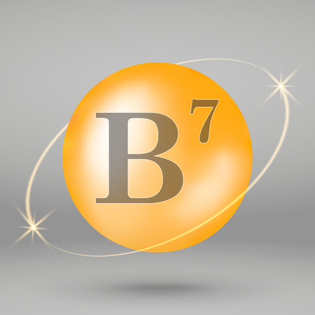 Vitamin B7 gold icon. drop pill capsule. Vitamin complex design