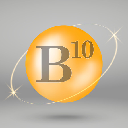 Vitamin B10 gold icon. drop pill capsule. Vitamin complex design 写真素材 - 110856267