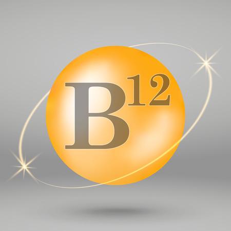 Vitamin B12 gold icon. drop pill capsule. Vitamin complex design 写真素材 - 110856268