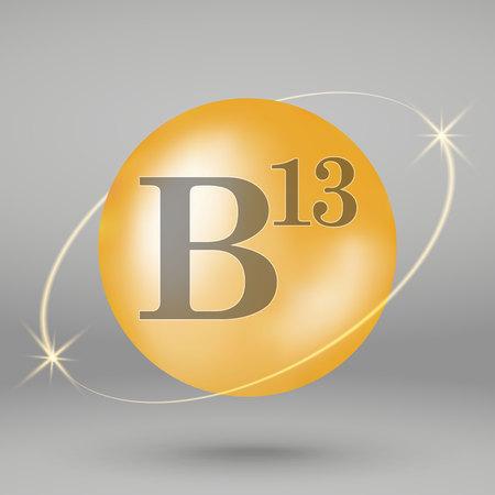Vitamin B13 gold icon. drop pill capsule. Vitamin complex design