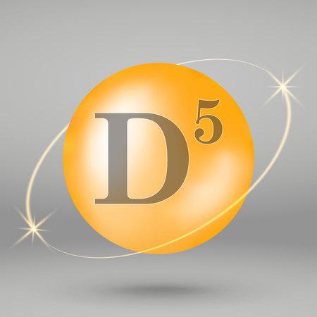 Vitamin D5 gold icon. drop pill capsule. Vitamin complex design 写真素材 - 110856278