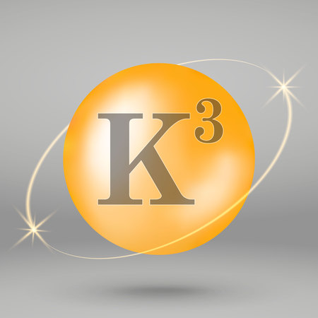 Vitamin K3 gold icon. drop pill capsule. Vitamin complex design 写真素材 - 110856283