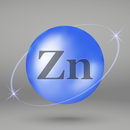 Zink-Symbol. Mineraltropfen-Pillenkapsel. Mineralkomplex-Design