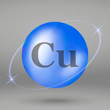 Ikona miedzi. Kapsułka pigułki mineralnej kropli. Projekt kompleksu mineralnego Ilustracje wektorowe