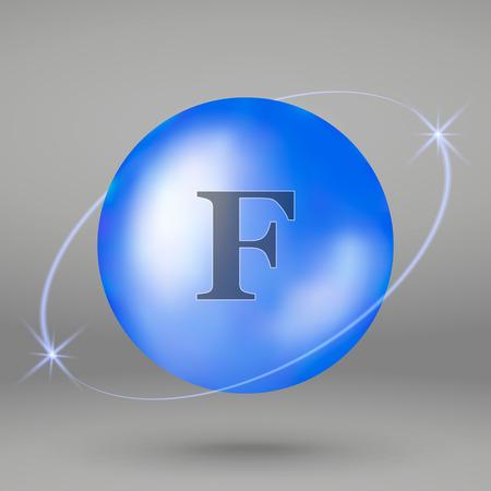 Fluorine icon. mineral drop pill capsule. Mineral complex design