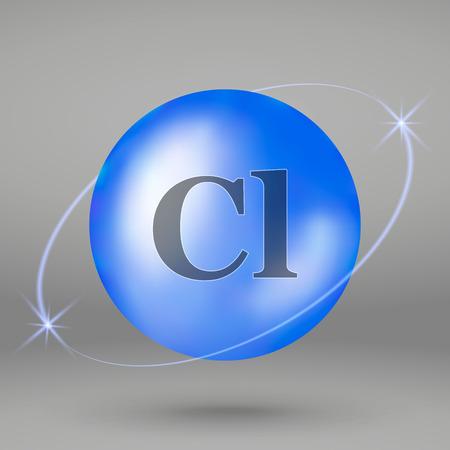 Chlorine icon. mineral drop pill capsule. Mineral complex design Stock Illustratie