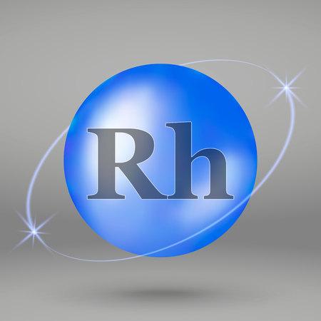 Rhodium icon. mineral drop pill capsule. Mineral complex design Illustration