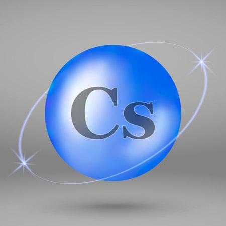 Caesium icon. mineral drop pill capsule. Mineral complex design