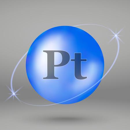Platinum icon. mineral drop pill capsule. Mineral complex design