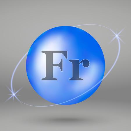 Francium icon. mineral drop pill capsule. Mineral complex design