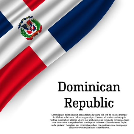 waving flag of Dominican Republic on white background. Template for independence day. vector illustration Иллюстрация