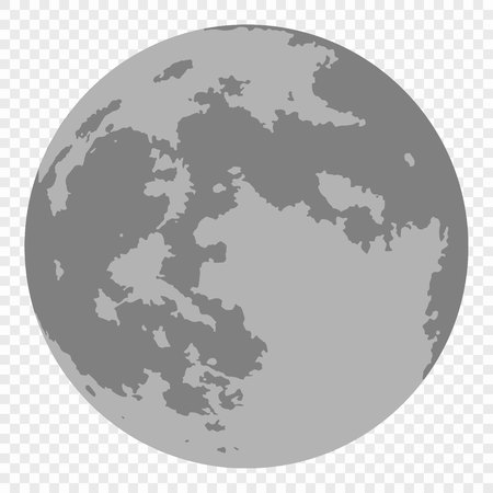 Vector realistic map of moon isolated