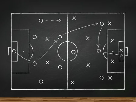 Soccer play tactics strategy drawn on chalk board. Top view Vectores