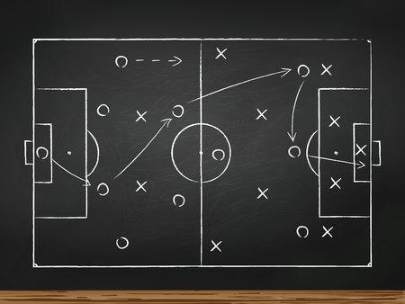 Voetbal spelen tactiek strategie getekend op krijtbord. Bovenaanzicht
