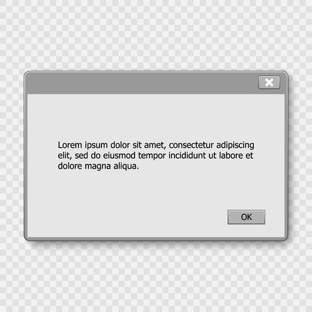 Window operating system warning. Illustration on white isolated background. Illustration