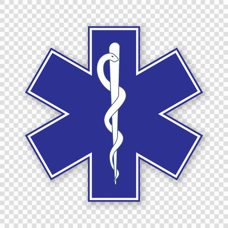 Medical symbol of the Emergency - Star of Life 矢量图像