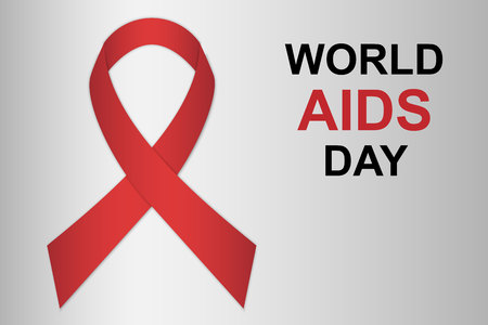 World AIDS day banner with red ribbon