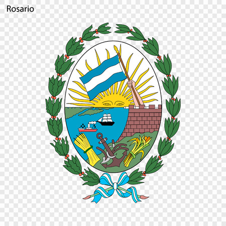 Emblem of Rosario. City of Argentinal. Vector illustration