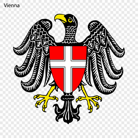 Emblem of Vienna. City of Austria. Vector illustration Çizim