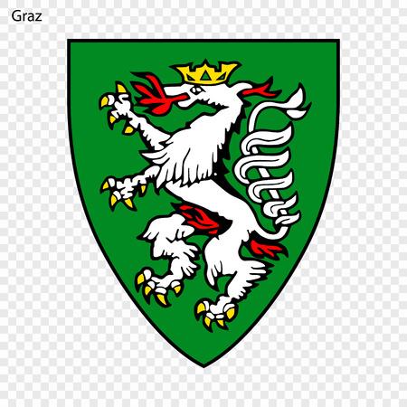 Emblem of Graz. City of Austria. Vector illustration