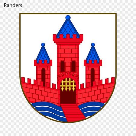 Emblem von Randers. Stadt Dänemark. Vektor-Illustration