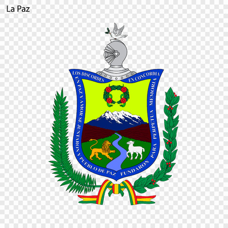Emblem of La Paz. City of Bolivia. Vector illustration