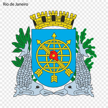 Emblem of Rio de Janeiro. City of Brazil. Vector illustration