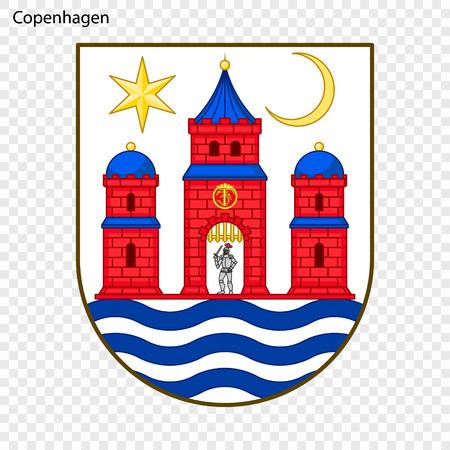 Emblem of Copenhagen. City of Denmark. Vector illustration