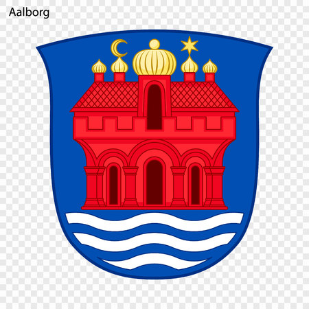 Emblem of Aalborg. City of Denmark. Vector illustration Illustration