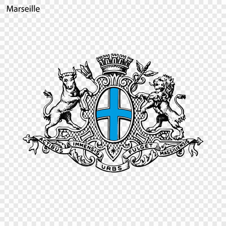 Emblem of Marseille. City of France. Vector illustration