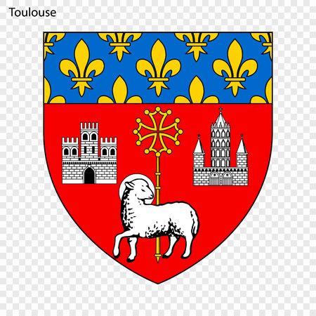 Emblem of Toulouse. City of France. Vector illustration Ilustração