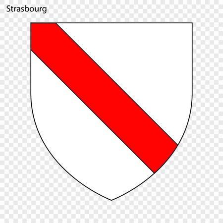 Emblem of Strasbourg. City of France. Vector illustration