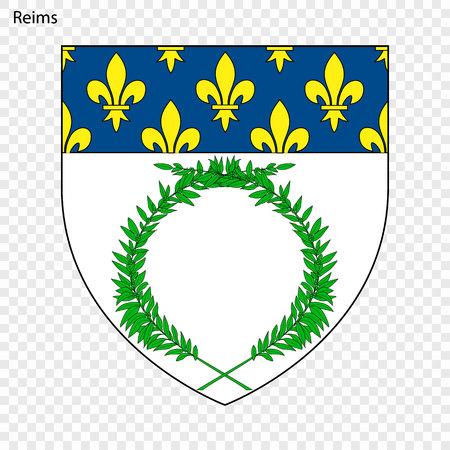 Emblem of Reims. City of France. Vector illustration