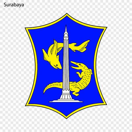 Emblem of Surabaya. City of Indonesia. Vector illustration Illustration