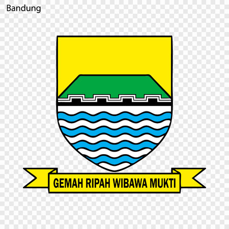 Emblem of Bandung. City of Indonesia. Vector illustration