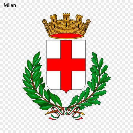 Emblem of Milan. City of Italy. Vector illustration