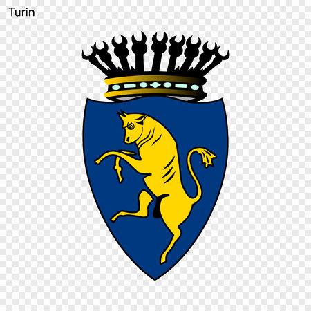 Emblem of Turin. City of Italy. Vector illustration